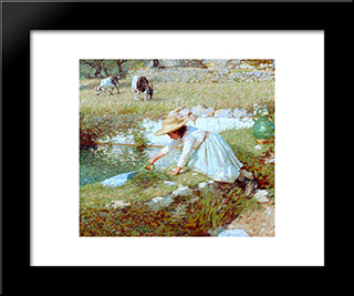 A Provencal Stream: Modern Black Framed Art Print by Henry Herbert La Thangue