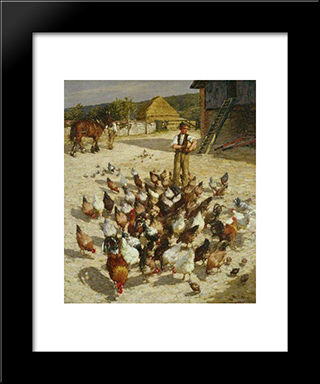 A Sussex Farm: Modern Black Framed Art Print by Henry Herbert La Thangue