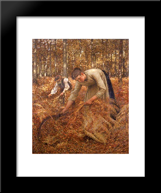 Gathering Bracken: Modern Black Framed Art Print by Henry Herbert La Thangue