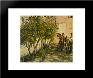 Gathering Oranges: Modern Black Framed Art Print by Henry Herbert La Thangue