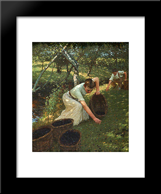 Gathering Plums: Modern Black Framed Art Print by Henry Herbert La Thangue