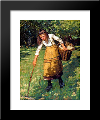 Gathering Wool: Modern Black Framed Art Print by Henry Herbert La Thangue