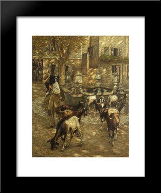 Goats At A Fountain: Modern Black Framed Art Print by Henry Herbert La Thangue