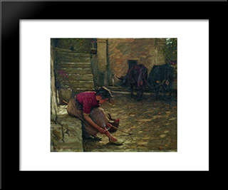 Going Out With The Cows: Modern Black Framed Art Print by Henry Herbert La Thangue