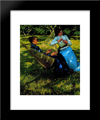 In The Orchard: Modern Black Framed Art Print by Henry Herbert La Thangue
