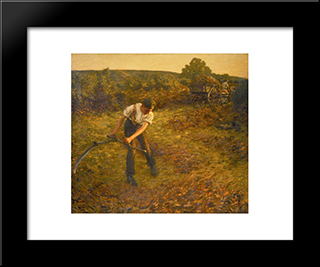 Mowing Bracken: Modern Black Framed Art Print by Henry Herbert La Thangue