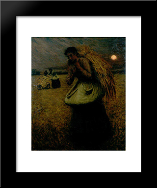 Nightfall (The Gleaners): Modern Black Framed Art Print by Henry Herbert La Thangue