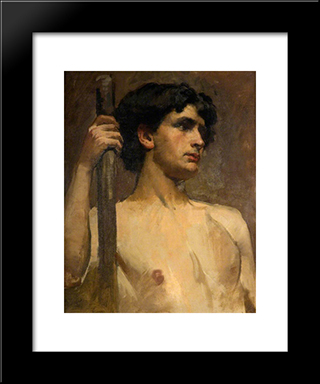 Nude Study: Modern Black Framed Art Print by Henry Herbert La Thangue