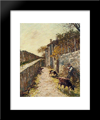 On The Ramparts: Modern Black Framed Art Print by Henry Herbert La Thangue