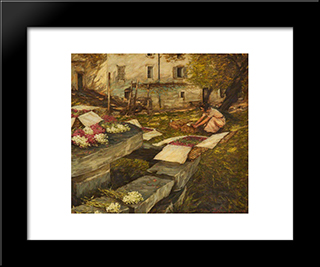 Packing Stocks: Modern Black Framed Art Print by Henry Herbert La Thangue