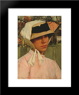 Portrait Of A Young Girl: Modern Black Framed Art Print by Henry Herbert La Thangue