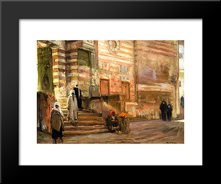 A Mosque In Cairo: Modern Black Framed Art Print by Henry Ossawa Tanner