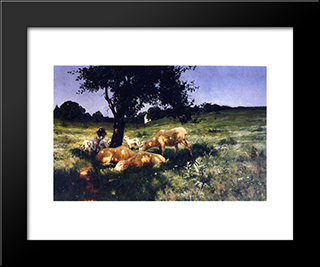 Boy And Sheep Lying Under A Tree: Modern Black Framed Art Print by Henry Ossawa Tanner