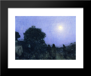 Christ And His Desciples On The Road To Bethany: Modern Black Framed Art Print by Henry Ossawa Tanner