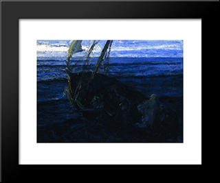 Christ And His Desciples On The Sea Of Galilee: Modern Black Framed Art Print by Henry Ossawa Tanner