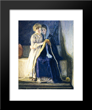 Christ And His Mother Studying The Scriptures: Modern Black Framed Art Print by Henry Ossawa Tanner