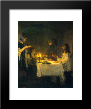 Christ At The Home Of Mary And Martha: Modern Black Framed Art Print by Henry Ossawa Tanner