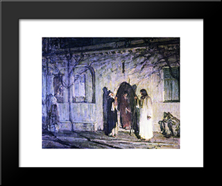 Christ With The Canaanite Woman And Her Daughter: Modern Black Framed Art Print by Henry Ossawa Tanner