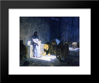 Daniel In The Lions' Den: Modern Black Framed Art Print by Henry Ossawa Tanner