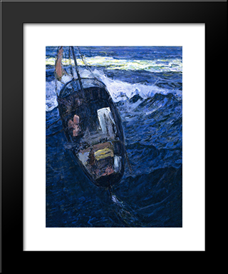 Fishermen At Sea: Modern Black Framed Art Print by Henry Ossawa Tanner