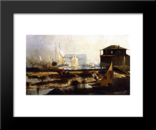 Harbor Scene: Modern Black Framed Art Print by Henry Ossawa Tanner