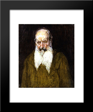 Head Of A Jew In Palestine: Modern Black Framed Art Print by Henry Ossawa Tanner