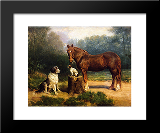 Horse And Two Dogs In A Landscape: Modern Black Framed Art Print by Henry Ossawa Tanner