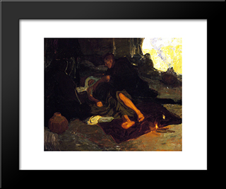 Job And His Three Friends: Modern Black Framed Art Print by Henry Ossawa Tanner