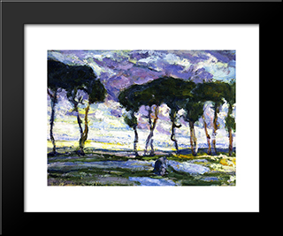 Landscape With Irises: Modern Black Framed Art Print by Henry Ossawa Tanner