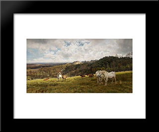 A Gleamy Day In Picardy: Modern Black Framed Art Print by Henry William Banks Davis