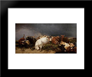 A Panic: Modern Black Framed Art Print by Henry William Banks Davis