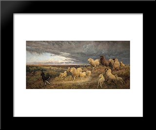Approaching Thunderstorm, Flocks Driven Home, Picardy, France: Modern Black Framed Art Print by Henry William Banks Davis