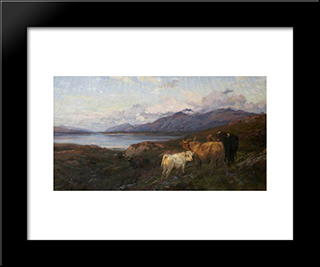 Cattle In A Highland Loch: Modern Black Framed Art Print by Henry William Banks Davis