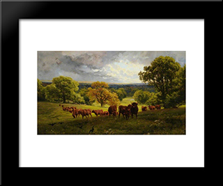 Landscape In Wiltshire: Modern Black Framed Art Print by Henry William Banks Davis