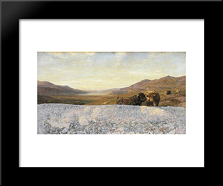 Landscape With Cattle, Evening: Modern Black Framed Art Print by Henry William Banks Davis