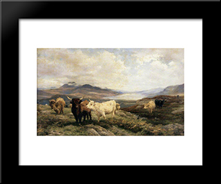 Landscape With Cattle, Morning: Modern Black Framed Art Print by Henry William Banks Davis