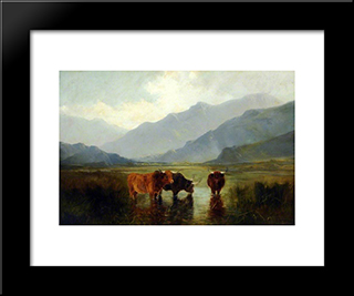 Landscape With Cattle: Modern Black Framed Art Print by Henry William Banks Davis