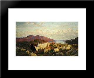 Landscape With Cattle And Sheep: Modern Black Framed Art Print by Henry William Banks Davis