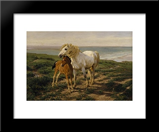Mother And Son: Modern Black Framed Art Print by Henry William Banks Davis