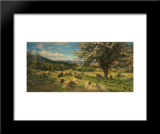Thorn Trees On A Breconshire Hillside: Modern Black Framed Art Print by Henry William Banks Davis