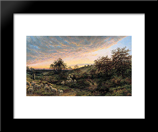 Twilight, Vallee De La Cluse, Near Boulogne: Modern Black Framed Art Print by Henry William Banks Davis