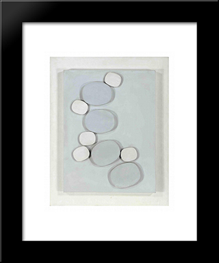 Grey - White Relief #2: Modern Black Framed Art Print by Henryk Stazewski