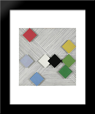Relief Nr. 18: Modern Black Framed Art Print by Henryk Stazewski