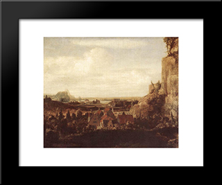 A River Valley With A Group Of Houses: Modern Black Framed Art Print by Hercules Seghers