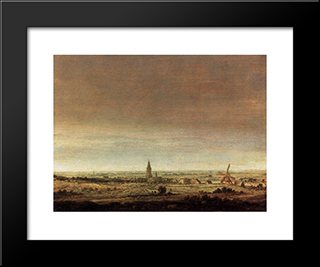 Landscape With City On A River: Modern Black Framed Art Print by Hercules Seghers