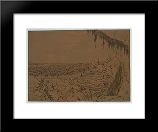 Landscape With Overhanging Fir: Modern Black Framed Art Print by Hercules Seghers