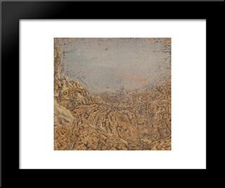 Mountain Gorge Bordered By A Road: Modern Black Framed Art Print by Hercules Seghers