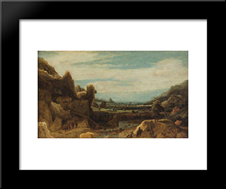 Mountain Valley: Modern Black Framed Art Print by Hercules Seghers