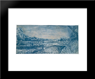 Mountain Valley With Fenced Fields: Modern Black Framed Art Print by Hercules Seghers