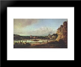 Panoramic Landscape: Modern Black Framed Art Print by Hercules Seghers